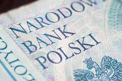 National bank of poland on fifty zloty bill Royalty Free Stock Photo