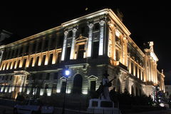 National Bank of Romania night Royalty Free Stock Photo
