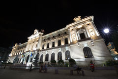 The National Bank of Romania in the night Royalty Free Stock Images