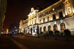 National Bank Rumunia w Bucharest przy nocą Zdjęcia Stock