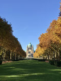National Basilica of the Sacred Heart. The National Basilica of the Sacred Heart in Brussels. View fro the park Stock Photos
