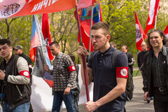 National Bolsheviks, together with Communist party supporters take part in a rally marking the May Day in the center of Moscow. Royalty Free Stock Image