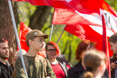 National Bolsheviks, together with Communist party supporters take part in a rally marking the May Day in the center of Moscow. Stock Photo