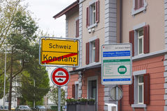 National border between Germany and Switzerland in Konstanz city Stock Photos