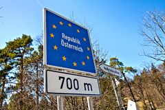National border roadsign entering Austria. /Europe royalty free stock images