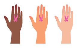 National Breast Cancer Awareness Month, hands with pink ribbons Royalty Free Stock Photography