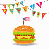 National Burger Day. Independence Day, National Burger Day United States American Holiday With Flag Vector Illustration Stock Photo