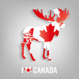 National Canada symbol Elk with an official flag and map silhouette. North America. Vector Stock Image