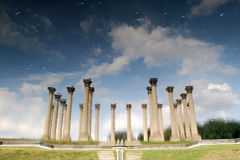 National Capitol Columns reflected. The 22 Corinthian sandstone columns known as the National Capitol Columns are a famous landmark located in the National Stock Image