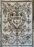National cash register. Ornate pattern on the back side of an old National cash register royalty free stock image