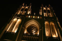 National cathedral, angled and lit for 'looming' effect. Night shot of national cathedral (washington, dc), angled for looming effect, to combine with foreboding stock photo