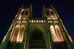 The National Cathedral at night, in Washington, DC. Stock Photography