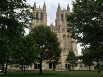 National Cathedral, Washington, D.C. Balanced view of the U.S. National Cathedral in Washington, D.C., July Fourth weekend, 2016 Stock Image