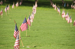 National Cemetery. A row of flags at the grave sites on Memorial Day (2011) at the Punch Bowl National Cemetery on the Island of Oahu in Hawaii Stock Image
