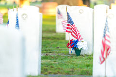National Cemetery with a flag on Memorial day. Stock Photo