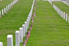 National Cemetery Headstones & Flags Stock Image