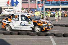 National Championship Dunlop on June 22, 2012. CLUJ-NAPOCA, ROMANIA - JUNE 22: Unidentified competitor during Rally of Romania 2012 National Championship Dunlop Royalty Free Stock Image