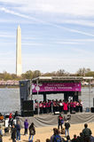 National Cherry Blossom Festival. 3-29-08 on the Tidal Basin in Washington DC. The Washington Monument in the background Royalty Free Stock Photography