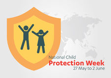 National Child Protection Week, International Children's Day, baby child protection logo black and white icon. Stock Images