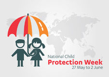 National Child Protection Week, International Children's Day, baby child protection logo black and white icon. Royalty Free Stock Images