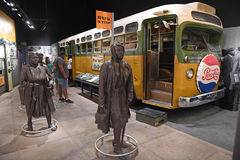 The National Civil Rights Museum in Memphis Tennessee. Memphis, TN, USA - June 9, 2017: Bus display at Rosa Parks exhibit as part of the National Civil Rights stock photography