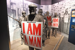 The National Civil Rights Museum in Memphis Tennessee. Memphis, TN, USA - June 9, 2017: Display `I Am A Man` inside the National Civil Rights Museum and the site royalty free stock image