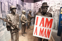 The National Civil Rights Museum in Memphis Tennessee. Memphis, TN, USA - June 9, 2017: I am A Man exhibit as part of the National Civil Rights Museum and the stock images