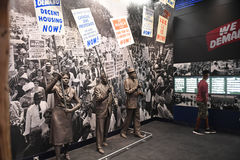 The National Civil Rights Museum in Memphis Tennessee. Memphis, TN, USA - June 9, 2017: Protesters as part of exhibit at the National Civil Rights Museum and royalty free stock image