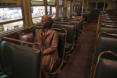 The National Civil Rights Museum in Memphis Tennessee. Memphis, TN, USA - June 9, 2017: Sculpture of Rosa Parks inside bus at the National Civil Rights Museum royalty free stock photography