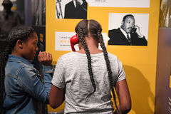 The National Civil Rights Museum in Memphis Tennessee. Memphis, TN, USA - June 9, 2017: Young girls inside the National Civil Rights Museum and the site of the royalty free stock photo