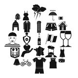 National clothes icons set, simple style. National clothes icons set. Simple set of 25 national clothes vector icons for web isolated on white background Royalty Free Stock Images