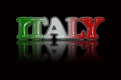 National color text illustration `ITALY` with special effect.  Royalty Free Stock Photos