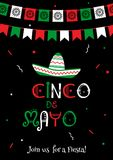 National colors cinco de mayo fiesta poster. Stylish cinco de mayo fiesta invitation poster template. National colors vector illustration with native culture Stock Photo