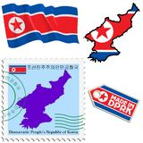 National colours of North Korea Stock Photo