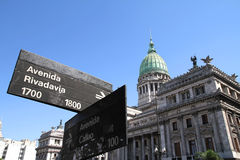 National Congress of Argentina with Street sign Royalty Free Stock Photo