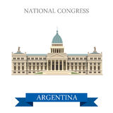 National Congress Buenos Aires Argentina vector flat attraction. National Congress in Buenos Aires Argentina. Flat cartoon style historic sight showplace vector illustration