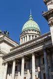 The National Congress in Buenos Aires. Closeup of the facade with columns of Congress. The National Congress in Buenos Aires, Argentina Royalty Free Stock Photos