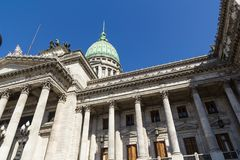The National Congress in Buenos Aires. Closeup of the facade with columns of Congress. The National Congress in Buenos Aires, Argentina Stock Photo