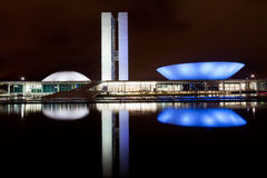 Brazil National Congress in Brasilia. The National Congress building in Brasilia during the night Stock Photography