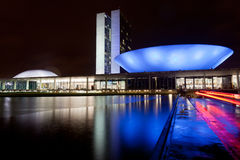 Brazil National Congress in Brasilia. The National Congress building in Brasilia during the night Stock Photo