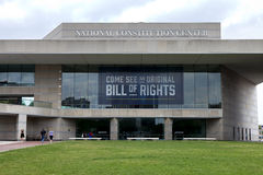 National Constitution Center. Tourist sightseeing at National Constitution Center located on Independence mall in Philadelphia, Pennsylvania where they can see Royalty Free Stock Photo