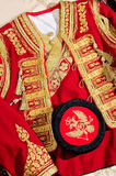 National costume of Montenegro. Male hat and the upper part of the costume. Handmade costume Royalty Free Stock Images