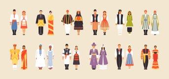 National costumes of Ukraine, Malaysia, Peru, Poland, Afghanistan, Uzbekistan, Sri Lanka, Senegal Romania Kazakhstan Netherlands royalty free illustration