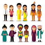 National couples vector characters in cartoon Royalty Free Stock Photography