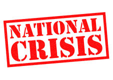NATIONAL CRISIS. Red Rubber Stamp over a white background Royalty Free Stock Image