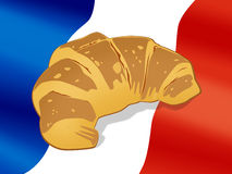 National cuisine. Croissant. French croissant on a flag background Stock Photography