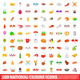 100 national cuisine icons set, cartoon style. 100 national cuisine icons set in cartoon style for any design vector illustration Stock Photos