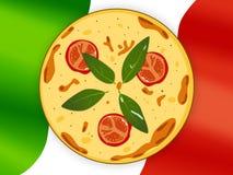 National cuisine. Pizza. Italian pizza on a flag background Stock Photos