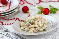 Russian traditional salad Olivier for New Year party Royalty Free Stock Images