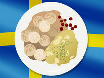 National cuisine. Swedish meatballs on a flag background Stock Image